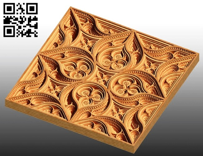 Square multilayer mandala E0014935 file cdr and dxf free vector download for laser cut