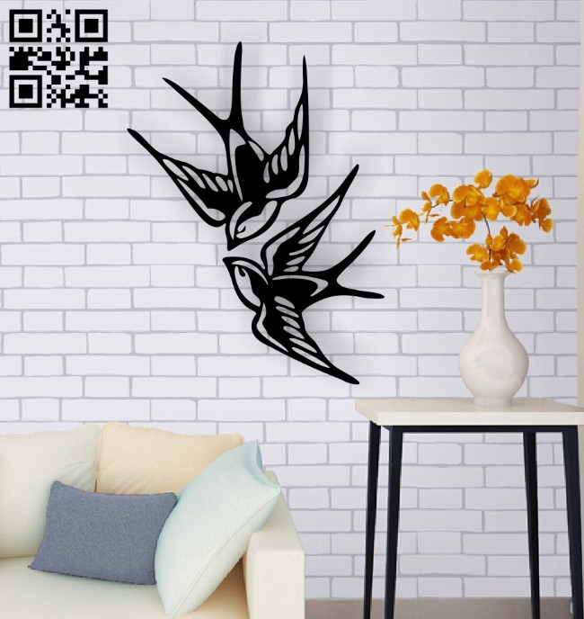 Swallows wall decor E0015020 file cdr and dxf free vector download for laser cut plasma