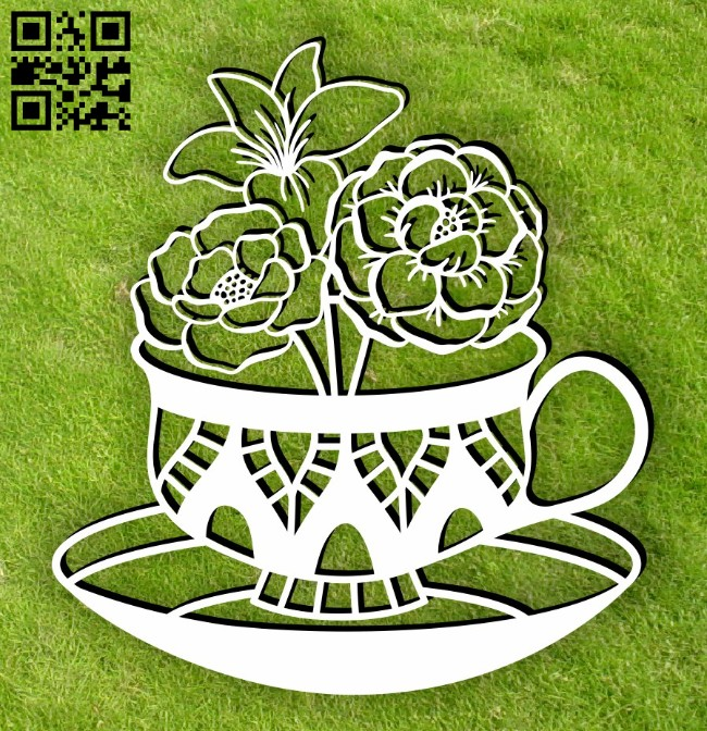Tea with flowers E0014985 file cdr and dxf free vector download for laser cut plasma