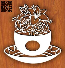 Tea with flowers E0014986 file cdr and dxf free vector download for laser cut plasma