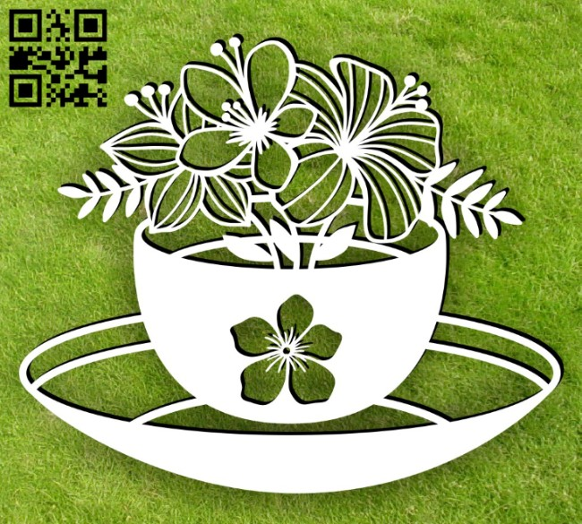 Tea with flowers E0015048 file cdr and dxf free vector download for laser cut plasma