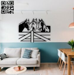 Three horses wall decor E0014918 file cdr and dxf free vector download for laser cut plasma