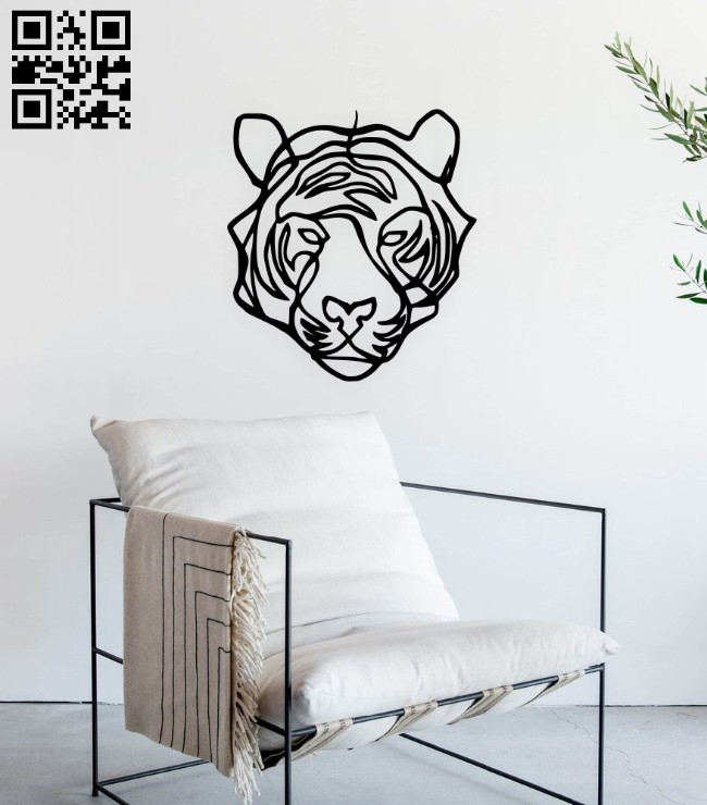 Tiger wall decor E0014891 file cdr and dxf free vector download for laser cut plasma