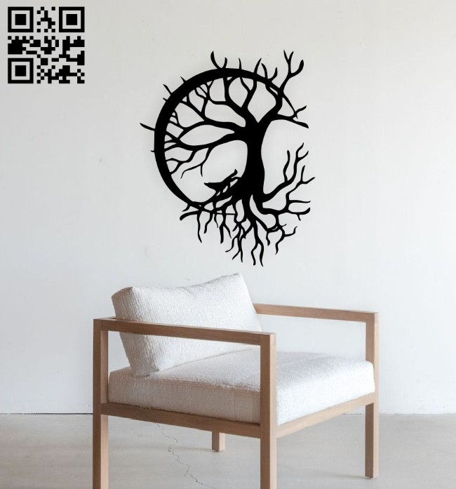 Tree with wolf E0014885 file cdr and dxf free vector download for laser cut plasma