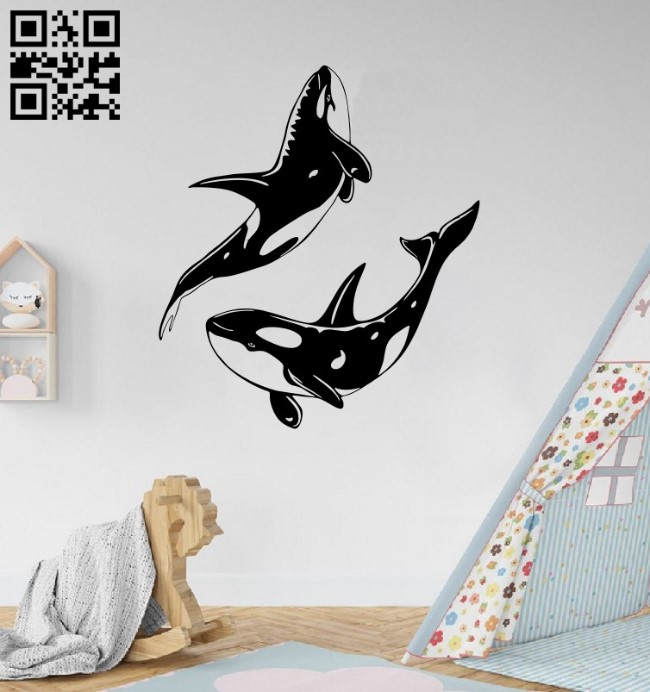 Whales wall decor E0014911 file cdr and dxf free vector download for laser cut plasma