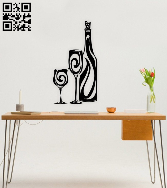 Wine glass and bottle E0014963 file cdr and dxf free vector download for laser cut plasma