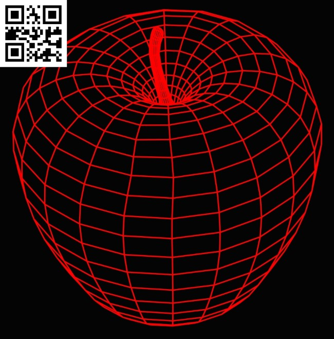 3D illusion led lamp Apple E0015191 file cdr and dxf free vector download for laser engraving machine