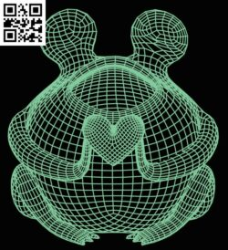 3D illusion led lamp Frog with heart E0015160 file cdr and dxf free vector download for laser engraving machine