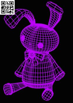 3D illusion led lamp Rabbit E0015190 file cdr and dxf free vector download for laser engraving machine