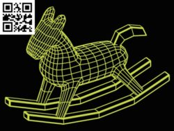 3D illusion led lamp Rocking horse E0015162 file cdr and dxf free vector download for laser engraving machine