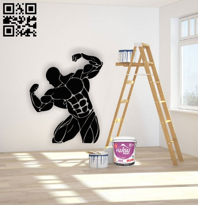 Bodybuilding wall decor E0015130 file cdr and dxf free vector download for laser cut plasma
