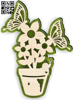 Butterfly flower E0015150 file cdr and dxf free vector download for laser cut