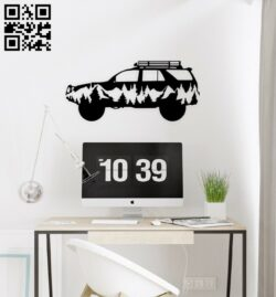 Car with mountain E0015110 file cdr and dxf free vector download for laser cut plasma