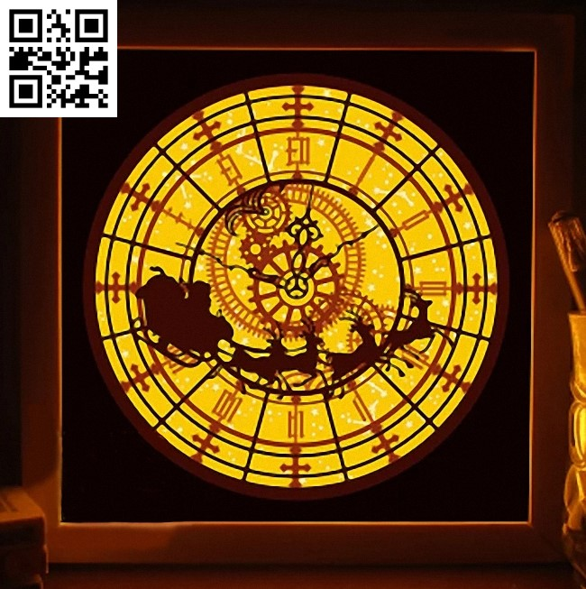 Christmas clock light box E0015177 file cdr and dxf free vector download for laser cut