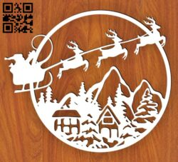 Christmas scene E0015204 file cdr and dxf free vector download for laser cut plasma