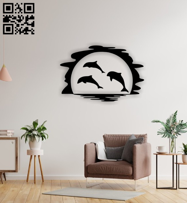 Dancing dolphins E0015091 file cdr and dxf free vector download for laser cut plasma