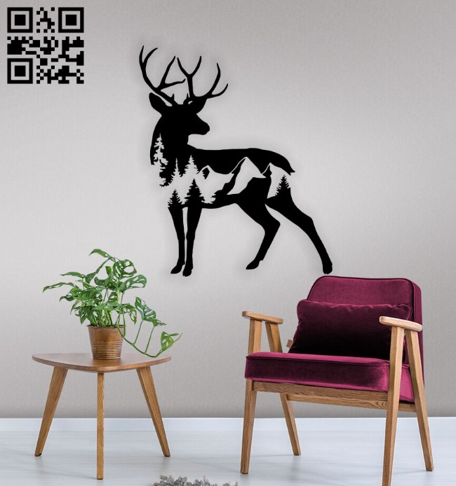 Deer with mountain E0015109 file cdr and dxf free vector download for laser cut plasma