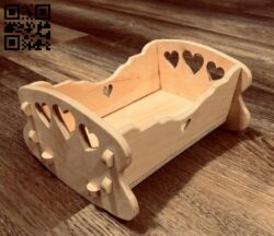 Doll cradle E0015147 file cdr and dxf free vector download for laser cut
