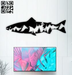 Fish with mountain E0015096 file cdr and dxf free vector download for laser cut plasma