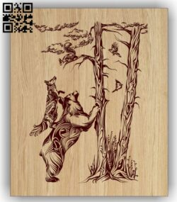 Forest animal E0015187 file cdr and dxf free vector download for laser engraving machine
