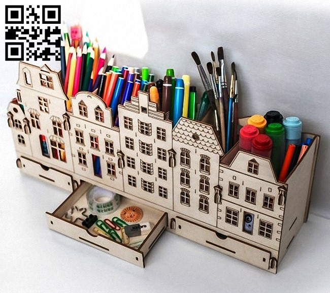 Houses organizer E0015180 file cdr and dxf free vector download for laser cut