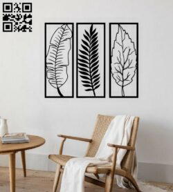 Leafs wall decor E0015118 file cdr and dxf free vector download for laser cut plasma