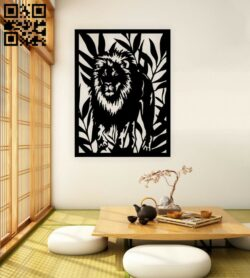 Lion panel E0015210 file cdr and dxf free vector download for laser cut plasma