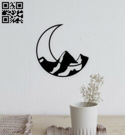 Moon with mountain E0015112 file cdr and dxf free vector download for laser cut plasma