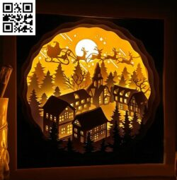 Santa Claus gives gifts light box E0015178 file cdr and dxf free vector download for laser cut