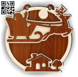 Santa house E0015179 file cdr and dxf free vector download for laser cut