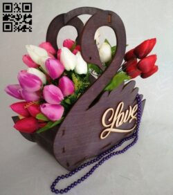Swan flower basket E0015097 file cdr and dxf free vector download for laser cut