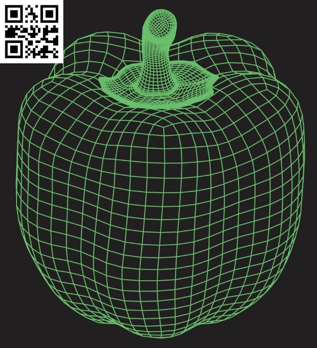 3D illusion led lamp Bell pepper E0015277 file cdr and dxf free vector download for laser engraving machine