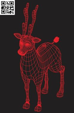 3D illusion led lamp Deer E0015338 file cdr and dxf free vector download for laser engraving machine