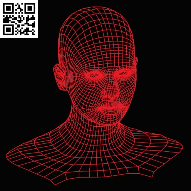 3D illusion led lamp Head E0015280 file cdr and dxf free vector download for laser engraving machine