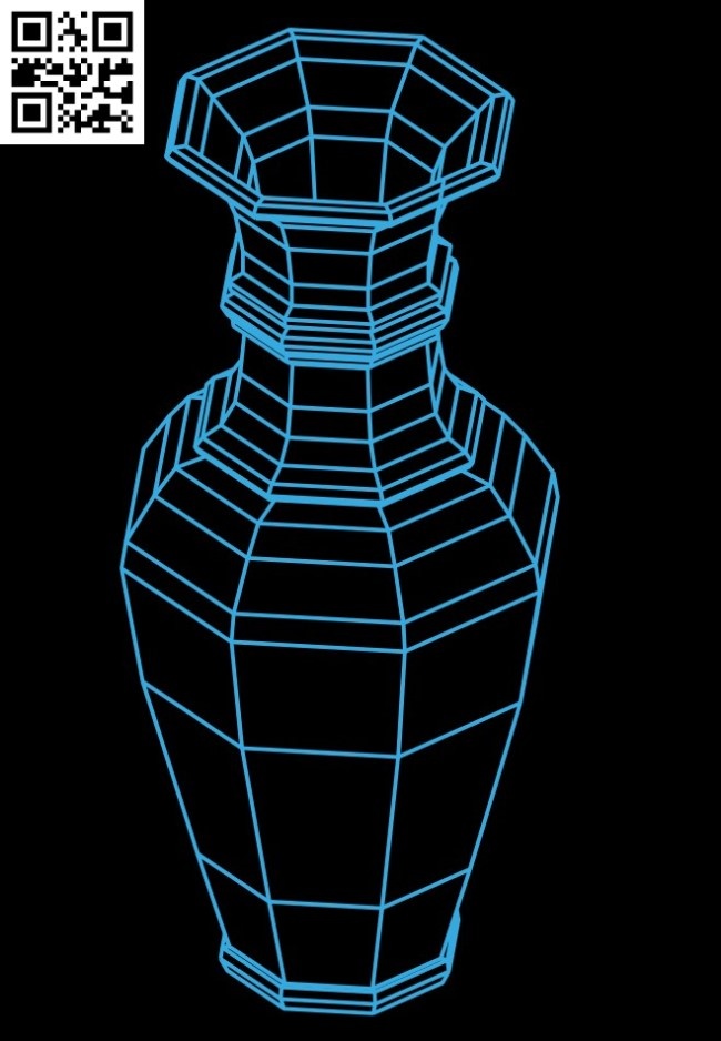 3D illusion led lamp Vase E0015285 file cdr and dxf free vector download for laser engraving machine