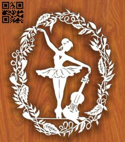 Ballerina and violin E0015368 file cdr and dxf free vector download for laser cut plasma