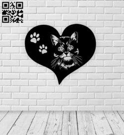 Cat with heart E0015377 file cdr and dxf free vector download for laser cut plasma