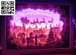 Children playing with snowman light box  E0015255 file cdr and dxf free vector download for laser cut