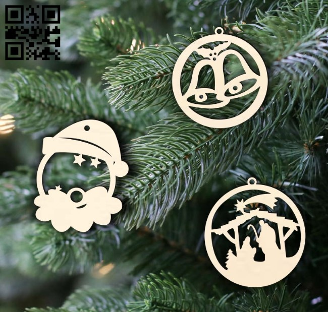 Christmas decor E0015296 file cdr and dxf free vector download for laser cut