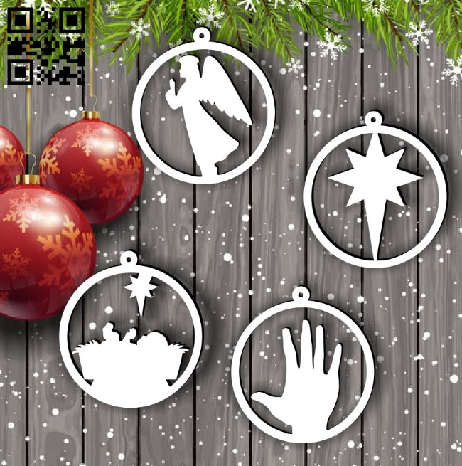 Christmas decor E0015300 file cdr and dxf free vector download for laser cut