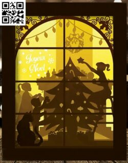Christmas light box E0015302 file cdr and dxf free vector download for laser cut