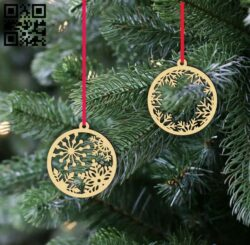 Christmas ornaments snowflakes E0015304 file cdr and dxf free vector download for laser cut