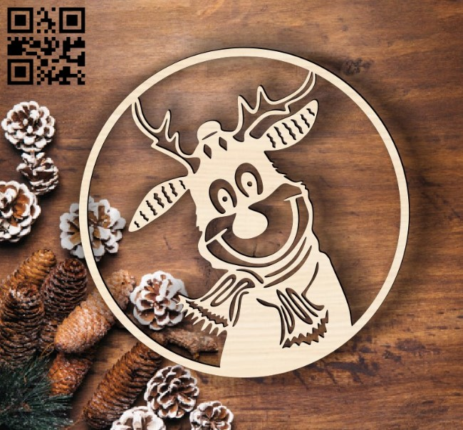 Christmas reindee E0015257 file cdr and dxf free vector download for laser cut