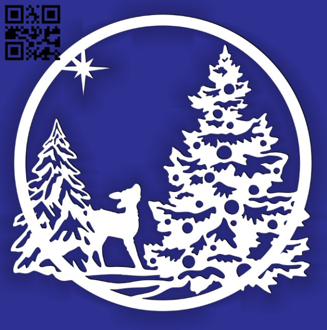 Christmas scene E0015242 file cdr and dxf free vector download for laser cut plasma