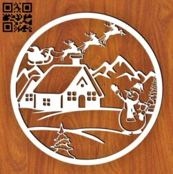 Christmas scene E0015327 file cdr and dxf free vector download for laser cut plasma