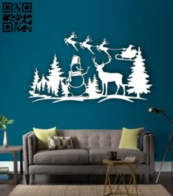 Christmas scene E0015339 file cdr and dxf free vector download for laser cut plasma