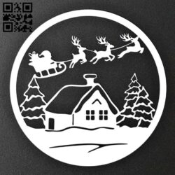 Christmas scene E0015371 file cdr and dxf free vector download for laser cut plasma