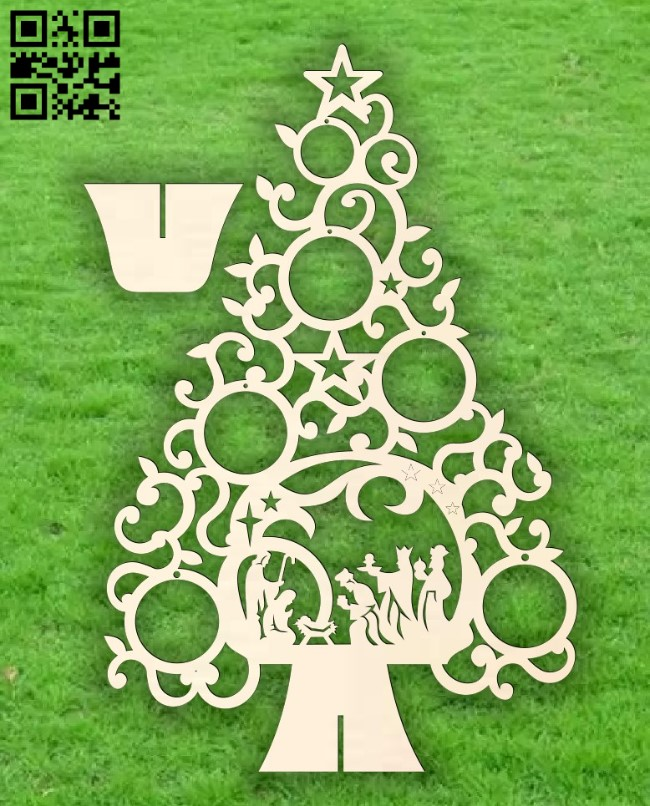 Christmas tree E0015297 file cdr and dxf free vector download for laser cut