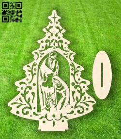 Christmas tree E0015298 file cdr and dxf free vector download for laser cut
