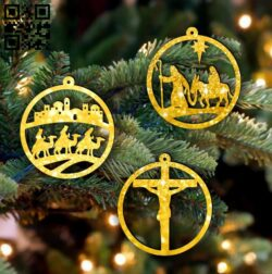 Christmas decor E0015299 file cdr and dxf free vector download for laser cut